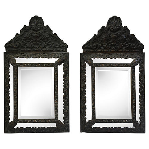 Italian Hand-Carved Mirrors, Pair