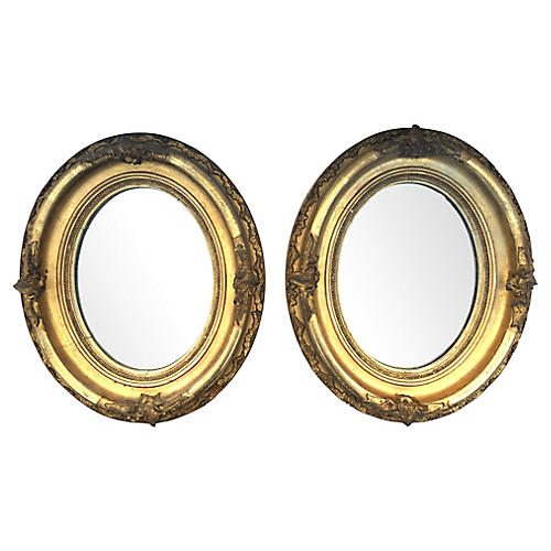 Oval Carved & Gilt Mirrors, Pair