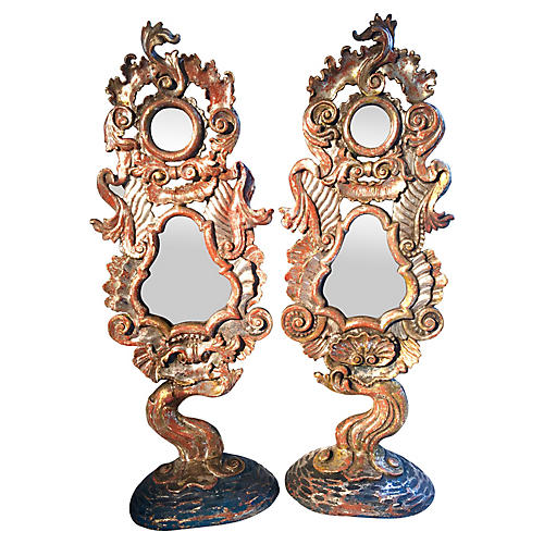 19th-C. Italian Hand-Carved Mirrors, S/2