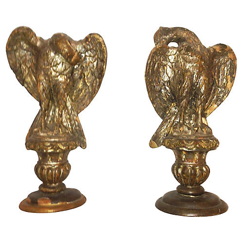 18th-C Italian Carved & Gilt Eagles Pair