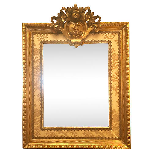 19th-C. French Mirror w/Upholstered Trim