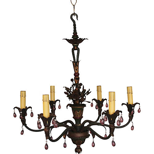French Tole Painted Chandelier
