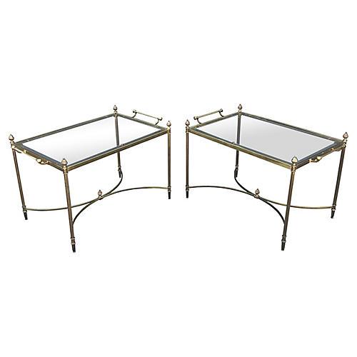 Italian Brass Side Tables, Pair