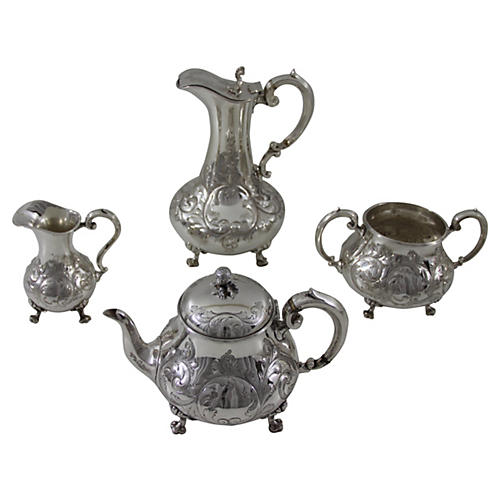 C. 1850 English Tea & Coffee Set, 4 Pcs
