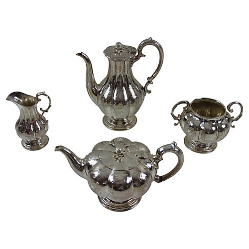 Silver-Plate Tea & Coffee Set, 4 Pcs