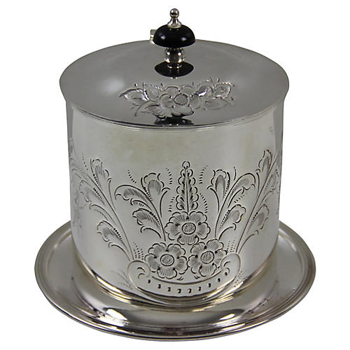 Chased Silver-Plate Biscuit Barrel