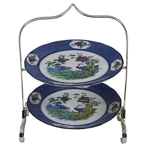 2-Tier Cake Stand w/ Chinoiserie plates