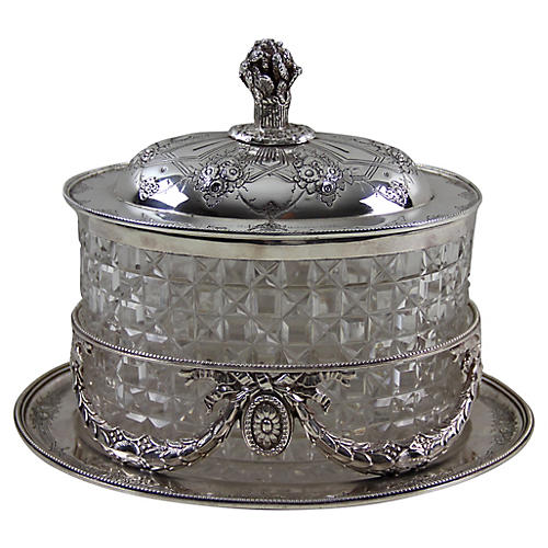 English Crystal and Plate Biscuit Jar