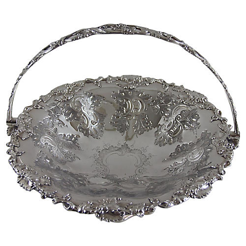 English Round Chased Silver-plate Basket
