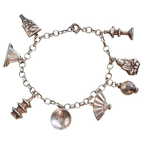 1930s Buddha Sterling Charm Bracelet