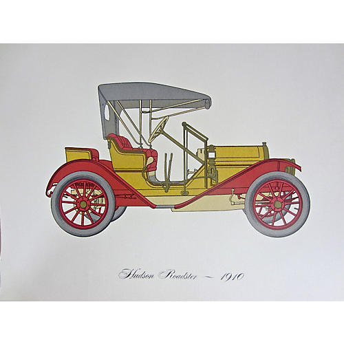 1910 Hudson Roadster Lithograph