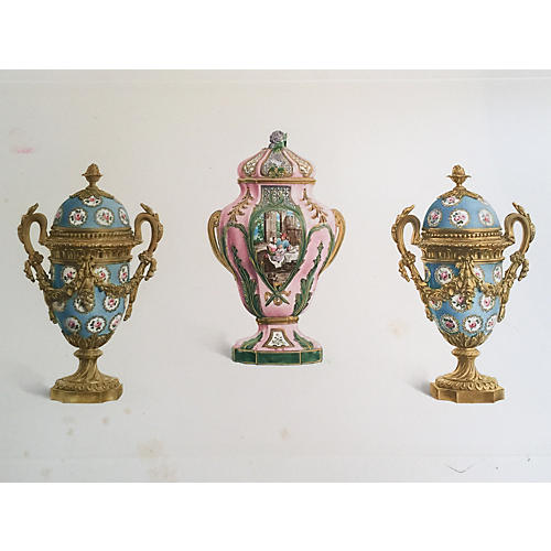 Antique Photogravure of Sevres Vases