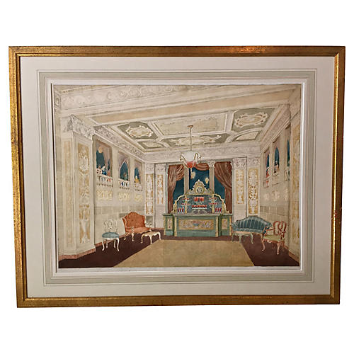 New York Hotel Banquet Room Watercolor