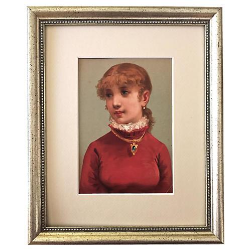 Antique Portrait Girl w/ Emerald