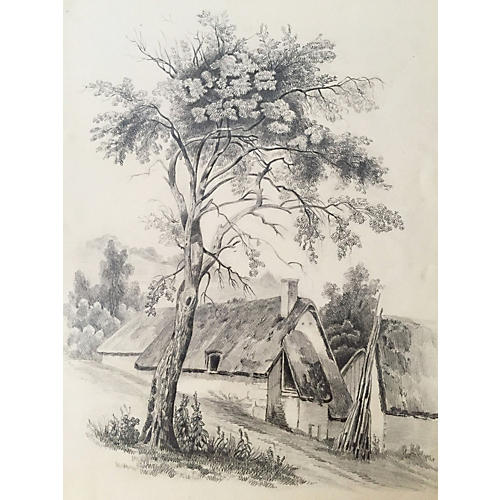 19th-C. French Drawing of a Cottage