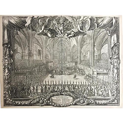Coronation Queen of Sweden Etching, 1696