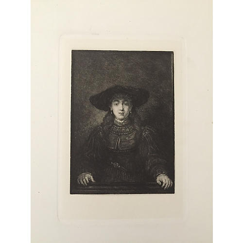 19th-C. Portrait of a Woman Etching
