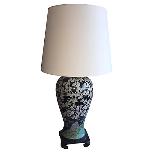 Chinese Famille Noir Lamp from Old Vase