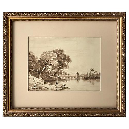 19th-C. English Watercolor Landscape