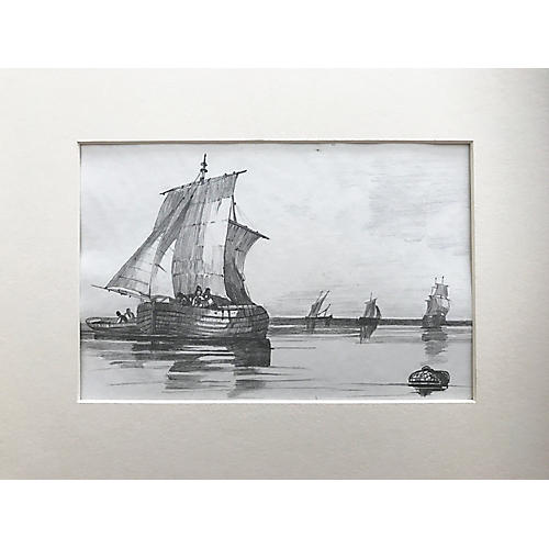 19th-C. French Drawing of Ships