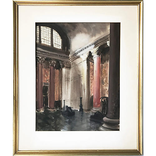 1940s Interior Watercolor by A.J. Broder