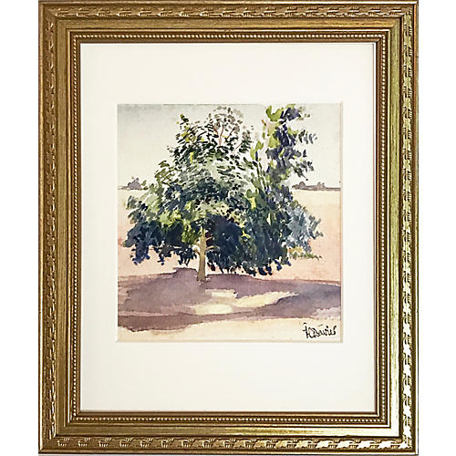Watercolor of a Tree by Harold C. Davies
