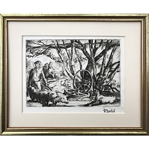 Stylized Farm Etching by Harold Davies