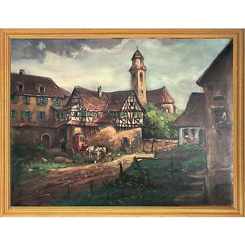 Antique Oil Painting English Village