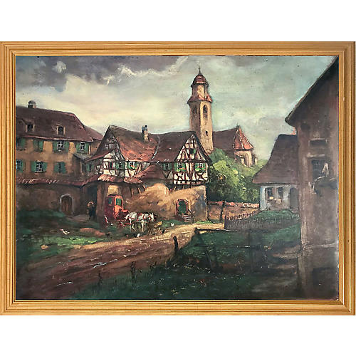 Antique Oil Painting English Village