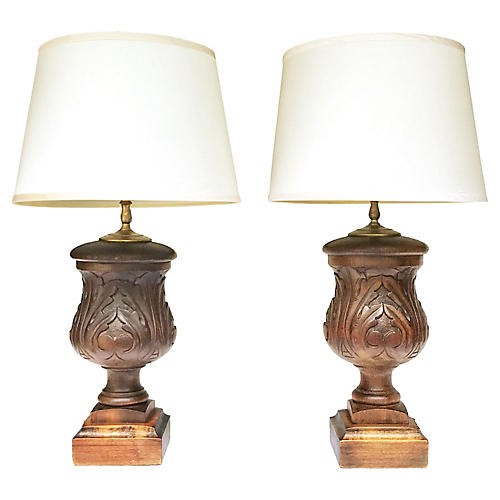 Carved Acanthus Finial Table Lamps, S/2