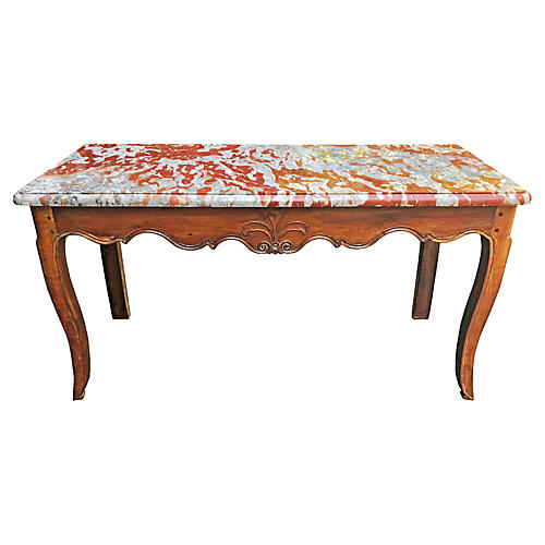 19th C French Provincial Marble Console