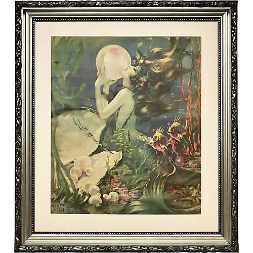 Art Deco Mermaid Print by H. Clive
