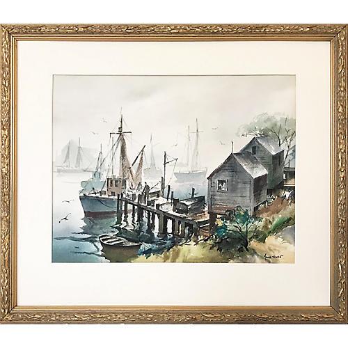 Harbor Watercolor by John Cuthbert Hare