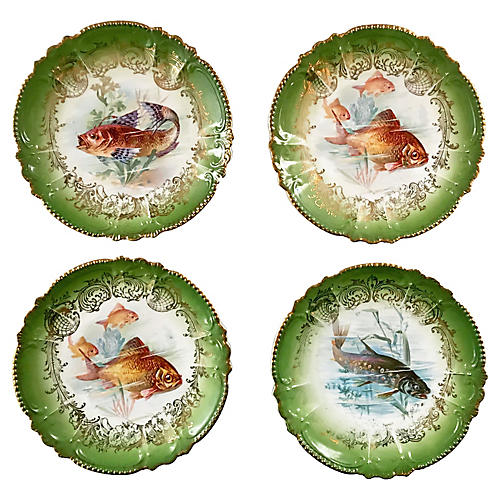 Antique Royal Bavarian Fish Plates, S/4