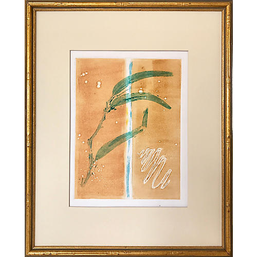 Modern Abstract Bamboo Etching