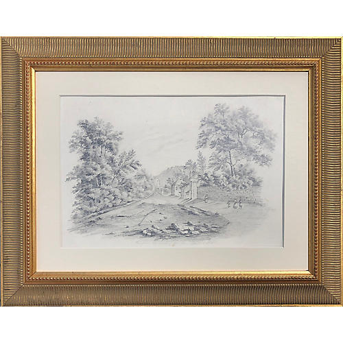 19th-C. English Landscape Drawing