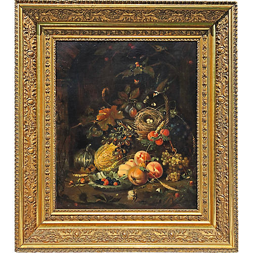 19th-C. Still Life w/ Bird's Nest