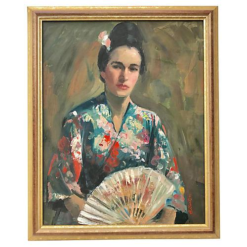 Portrait Woman in a Kimono Harry Barton