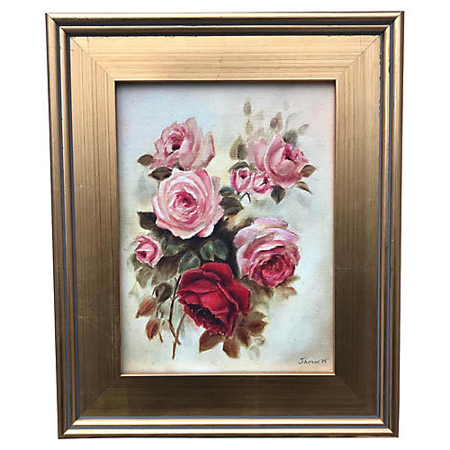 Oil Painting Roses Flowers by Thorne