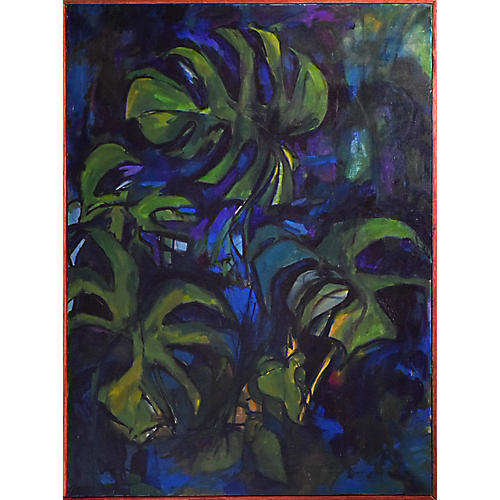Vintage Abstract Philodendron Painting