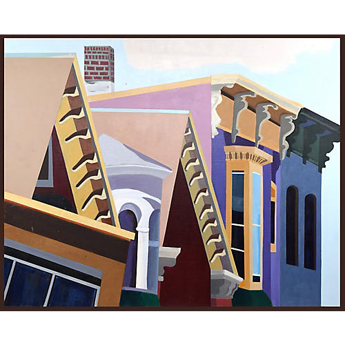 Contemporary Painting of Urban Rooftops