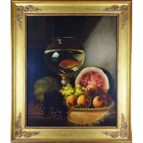 19th C Still Life w/ Goldfish by M. Ream