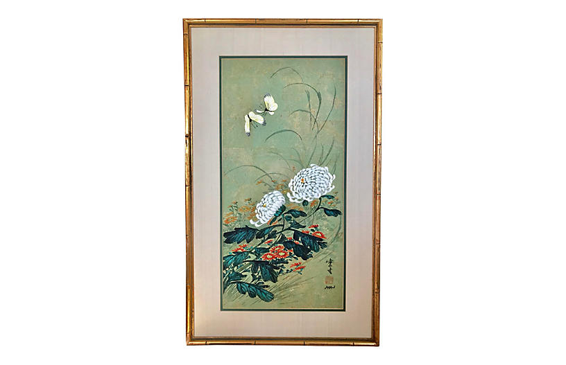 Chinese Floral Painting by Hui Chi Mau