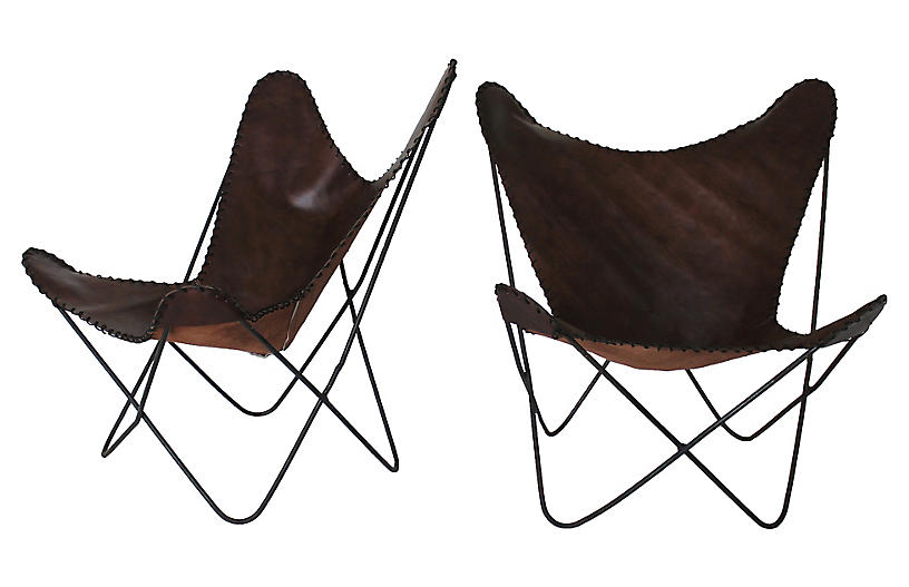 Leather Butterfly Chairs, Pair