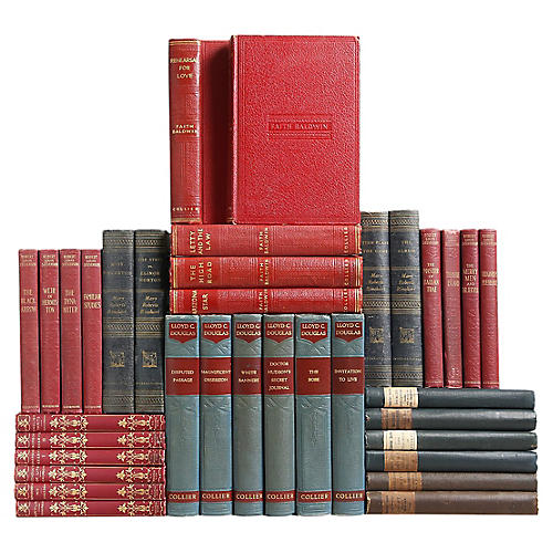 Vintage Prussian Blue and Crimson Books