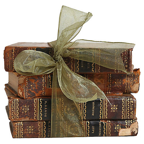 Distressed Leather Book Gift Set, S/4