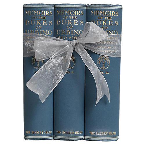 Antique Book Set: Italian Memories, S/3