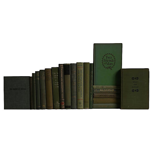 Midcentury Olive Book Set, S/20