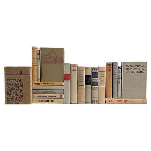 World History Book Set in Neutral, S/20