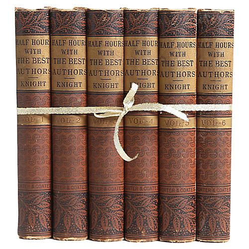 Antique Best Authors Book Set, S/6